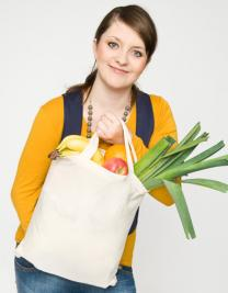 Cotton bag, short handles, Basic